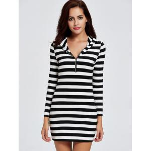 Casual Hooded Striped Short Mini Dress -