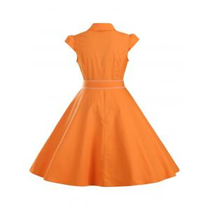 Ruffled Cap Sleeves Flare A Line Dress - ORANGE 2XL