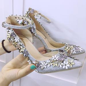 Gorgeous Ankle Strap and Flowers Design Pumps For Women - SILVER 38