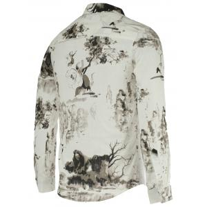 Landscape Paniting Print Turn-Down Collar Long Sleeve Shirt For Men -