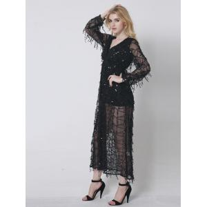 Long Sequin See Thru Prom Dress with Sleeves - BLACK 2XL