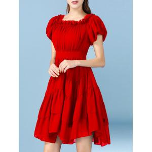 Sweet Off The Shoulder Solid Color Chiffon Women's Dress -