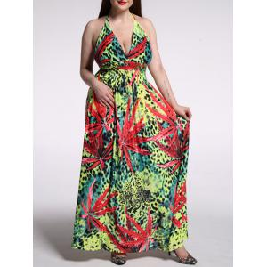 Plus Size Leopard Print Halter Maxi Dress -