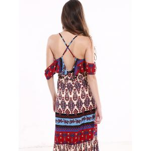 Tribal Print Flounce Long Boho Slip Dress - COLORMIX 3XL