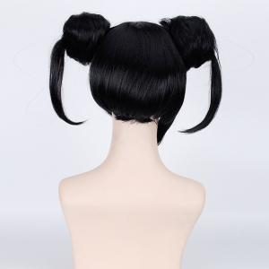 Sweet Double Chignons Black Anime Love Live Yazawa Nico Awake Kimono Cosplay Wig - BLACK