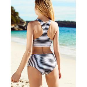 Stylish Striped Hollow Out Bikini Set For Women - WHITE/BLACK L