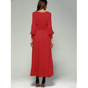 Puff Sleeve Empire Waist Chiffon Maxi Formal Party Dress - RED XL