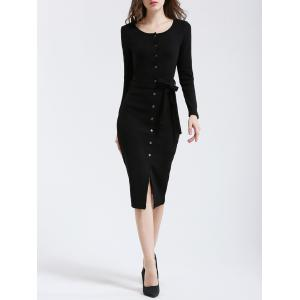 Simple Women's Buttoned Slit Slimming Dress -