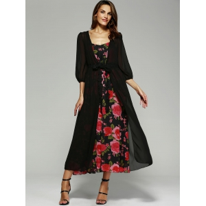 Printed Cami Dress+ Black Kimono - BLACK XL