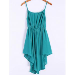 Alluring Spaghetti Strap Solid Color Irregular Hem Women's Chiffon Dress -
