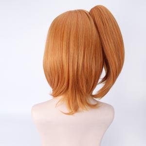 Stylish Orange Medium Straight Love Live Kousaka Honoka Cosplay Wig With Ponytail -
