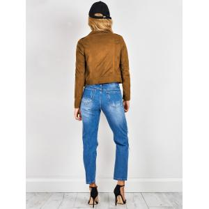 Chic Lapel Collar Long Sleeve Suede Zipper Up Jacket For Women -