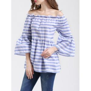 Graceful Women's Striped Off-The-Shoulder Flare Sleeves Blouse -