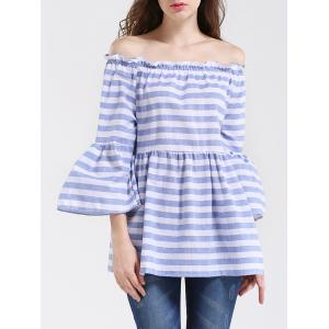 Graceful Women's Striped Off-The-Shoulder Flare Sleeves Blouse - LIGHT BLUE L