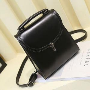 Styish Solid Color and PU Leather Design Backpack For Women -