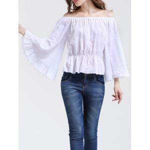 Graceful Women's Bell Sleeves Off-The-Shoulder White Blouse -