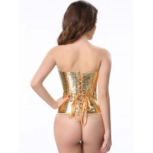 Stunning Lace Up Golden Color Metallic Corset With G-String -