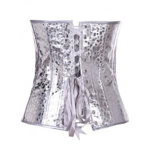 Stunning Lace Up Silver Color Metallic Corset With G-String - SILVER WHITE L