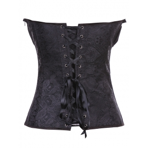 Stunning Lace Up Ruffle Paisley Print  Corset With G-String - BLACK 2XL