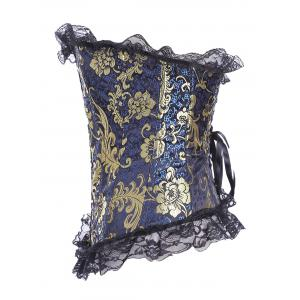Stunning Lace Up Ruffle Paisley Gilding Corset With G-String -