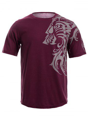 Latest Tattoo Style Tiger Print Round Neck Short Sleeve T-Shirt For Men