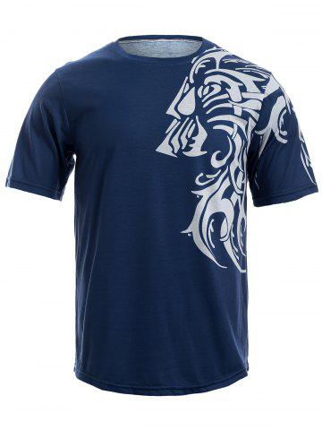 Cheap Tattoo Style Tiger Print Round Neck Short Sleeve T-Shirt For Men
