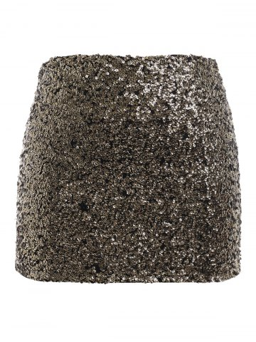 Shop Plus Size Fitted Sequined Micro Skirt