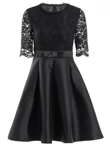 Shop Retro Jewel Neck 1/2 Sleeve Solid Color Lace Spliced Women's Ball Gown Dress BLACK M
