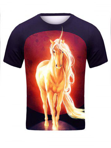 Affordable Round Neck 3D Unicorn Print Character T-Shirt - M BLACK Mobile