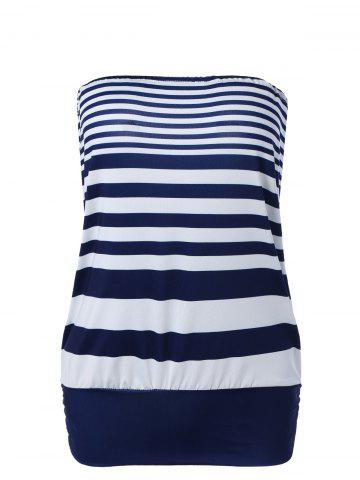 Outfit Casual Strapless Striped Top For Women