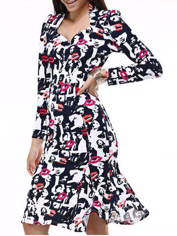 Fancy Face Print Mermaid Sweetheart Prom Dress BLACK AND WHITE AND RED 2XL