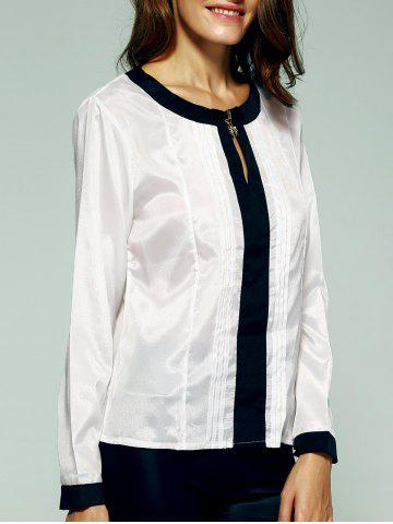 Trendy Graceful Hit Color Ruched Blouse For Women