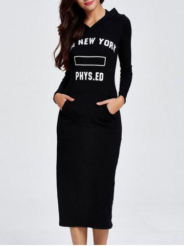 Hot Hooded Letter Print Long Sleeve Midi Dress BLACK 2XL