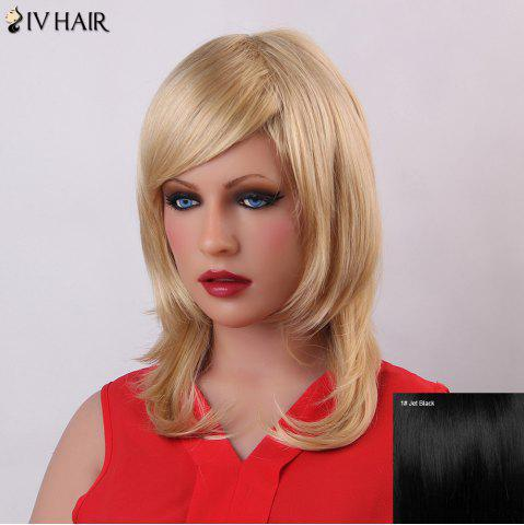 Discount Vogue Long Layered Siv Hair Capless Fluffy Natural Wave Human Hair Wig For Women JET BLACK