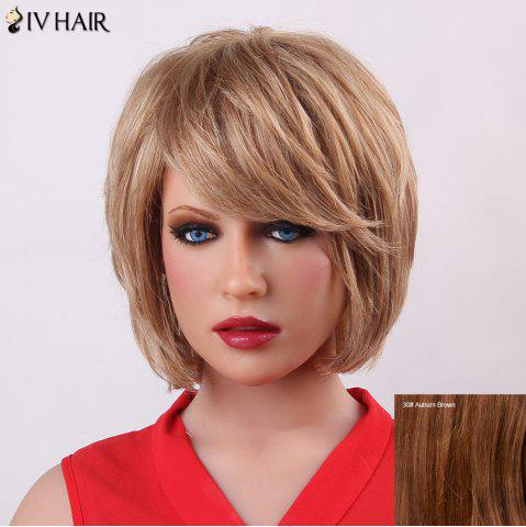 Discount Fluffy Short Layered Siv Hair Trendy Natural Straight Capless Human Hair Wig For Women - AUBURN BROWN  Mobile