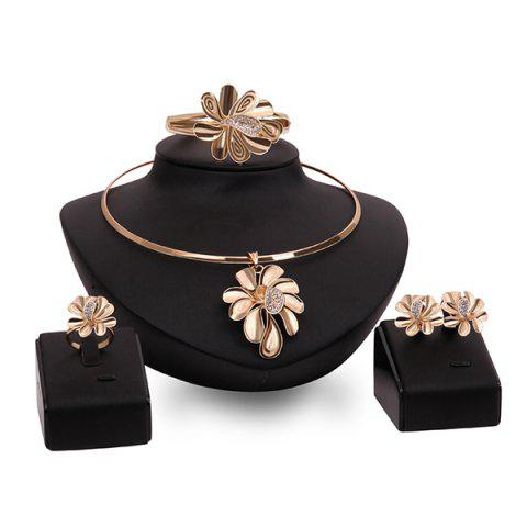 Discount Curved Flower Rhinestone High Polished Necklace Set