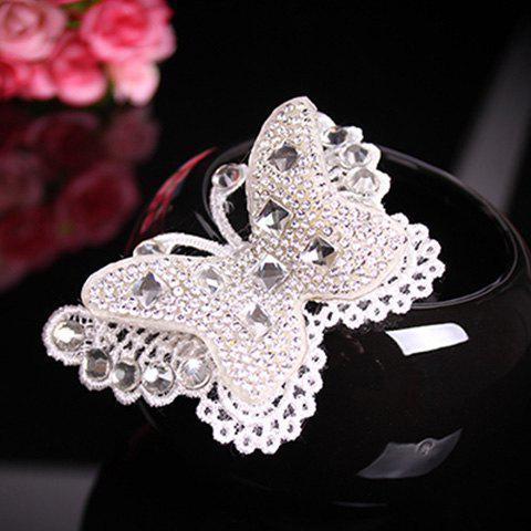 Sale Delicate Cut Out White Lace Rhinestone Butterfly Barrette For Women