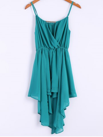 Sale Alluring Spaghetti Strap Solid Color Irregular Hem Women's Chiffon Dress - M LAKE GREEN Mobile