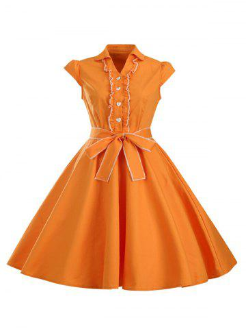 Outfits Ruffled Cap Sleeves Flare A Line Dress ORANGE 2XL