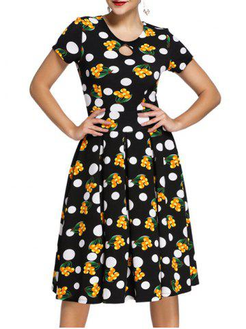 Outfit Vintage Women's Polka Dot Printed Flare Dress