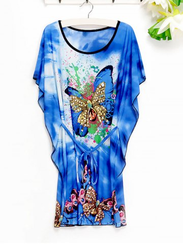 Cheap Casual Women's Butterfly Pattern Loose-Fitting Dress