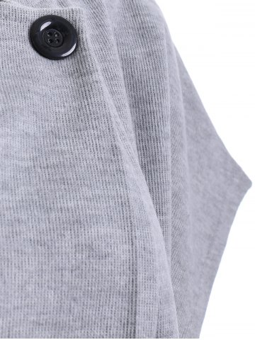Cheap Button Design Short Sleeve Jumper Dress - M LIGHT GRAY Mobile