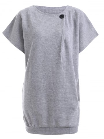 Affordable Button Design Short Sleeve Jumper Dress - M LIGHT GRAY Mobile