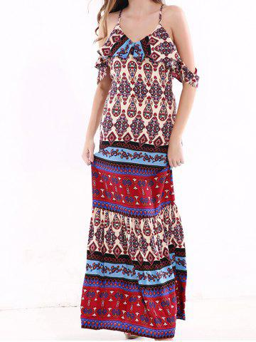 Outfit Tribal Print Flounce Long Boho Slip Dress COLORMIX 3XL
