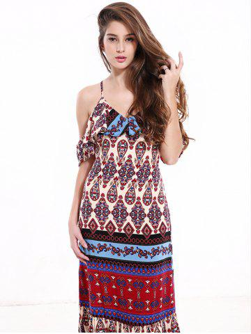 Affordable Tribal Print Flounce Long Boho Slip Dress - XL COLORMIX Mobile