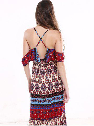 Hot Tribal Print Flounce Long Boho Slip Dress - XL COLORMIX Mobile