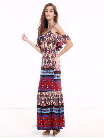 Cheap Tribal Print Flounce Long Boho Slip Dress - XL COLORMIX Mobile
