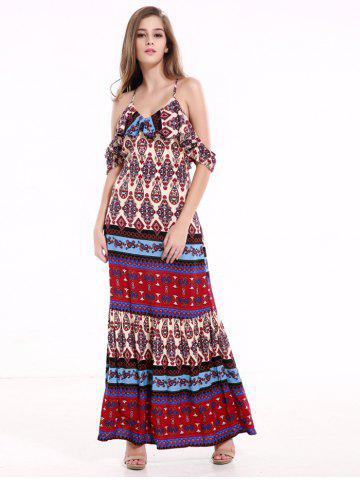 Fashion Tribal Print Flounce Long Boho Slip Dress - XL COLORMIX Mobile