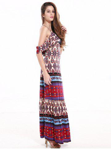 Sale Tribal Print Flounce Long Boho Slip Dress - XL COLORMIX Mobile