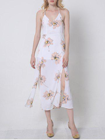 Buy Flowing Backless Floral Pattern Dress